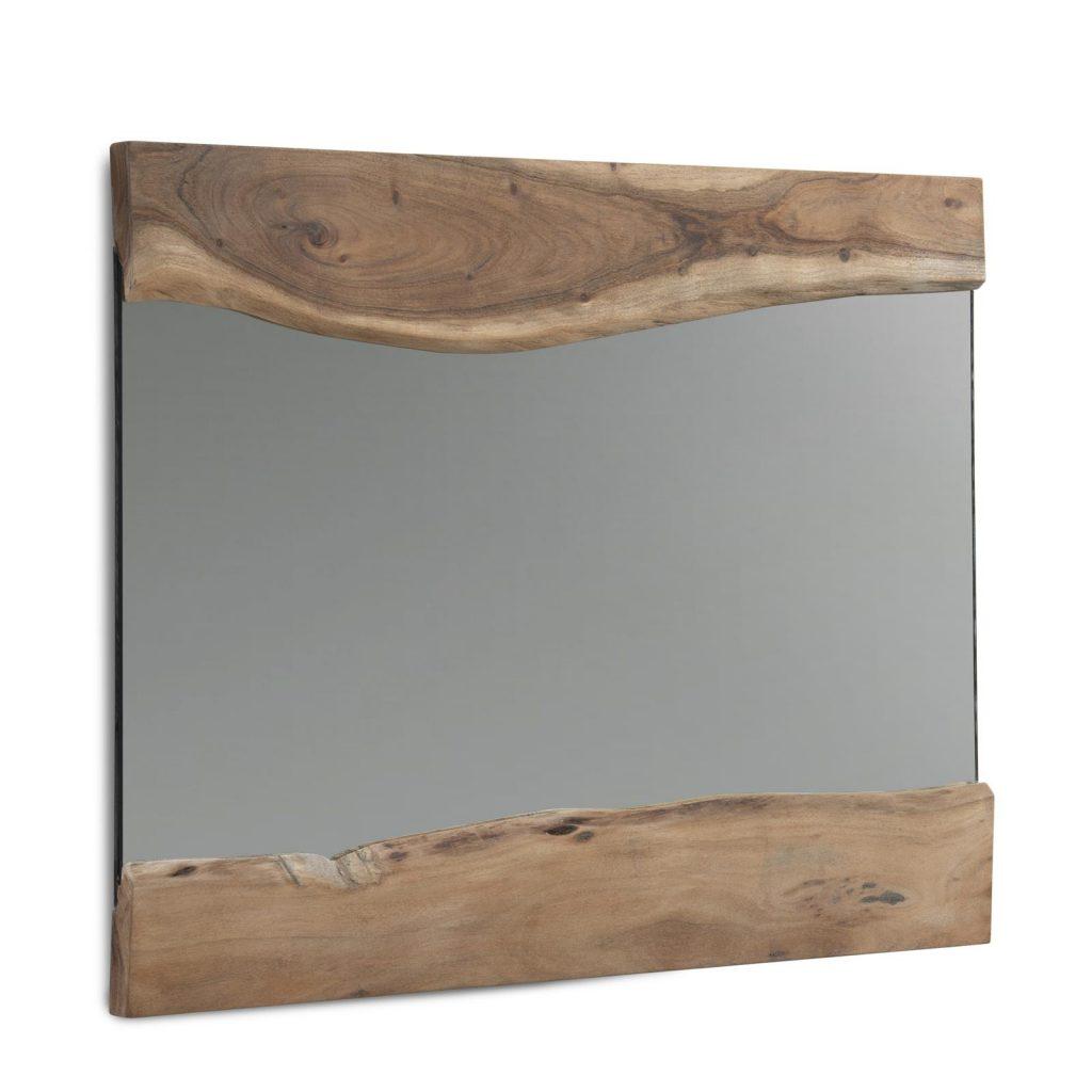 Miroir mural rectangulaire avec bordures en bois brut