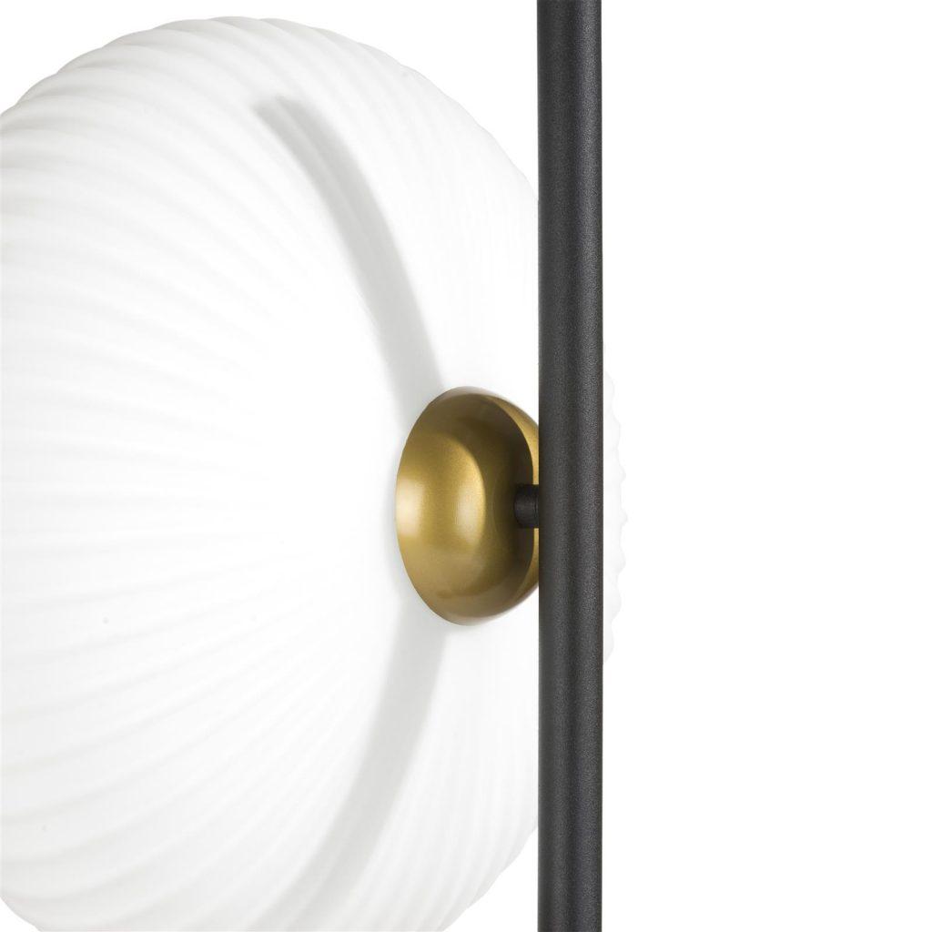 Lampadaire contemporain en métal noir et abat-jours circulaires blanc