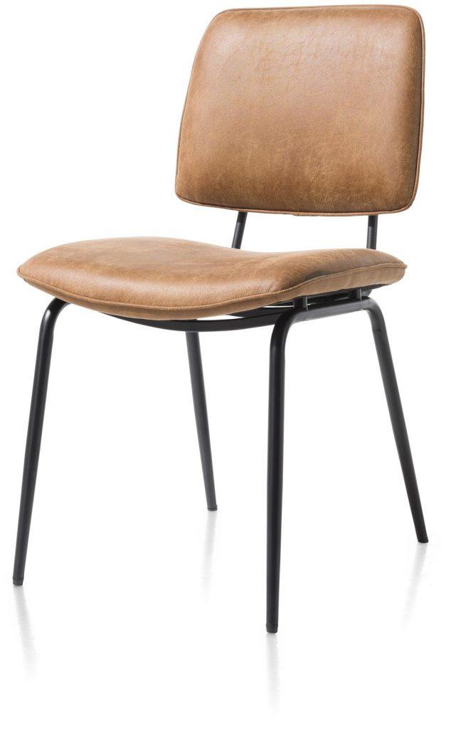 Chaise minimaliste et rétro couleur marron cognac