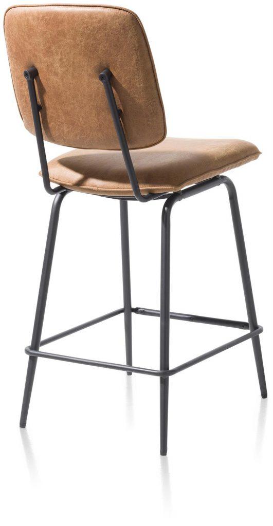 Chaise de bar minimaliste et rétro couleur marron cognac