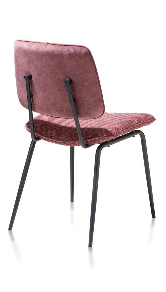 Chaise minimaliste et rétro en tissu rose foncé