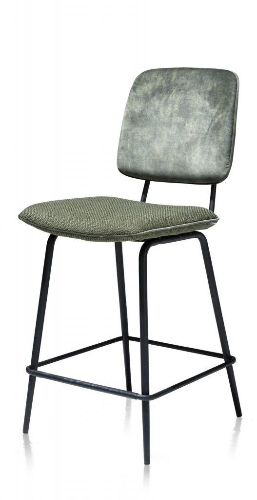 Chaise de bar minimaliste et rétro en tissu olive