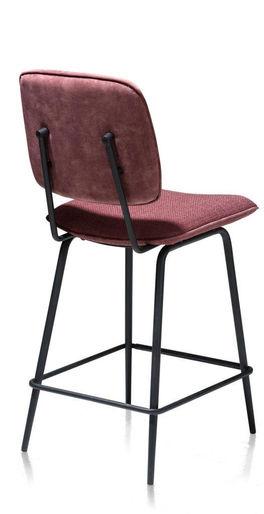 Chaise de bar minimaliste et rétro en tissu rose foncé