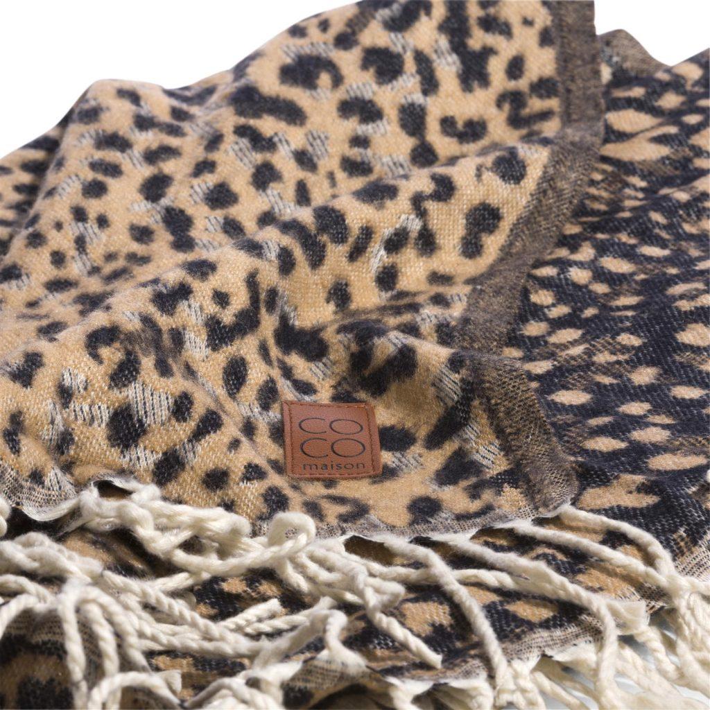 Plaid motifs léopard à franges