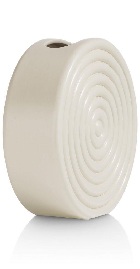 Vase rond et contemporain en céramique beige