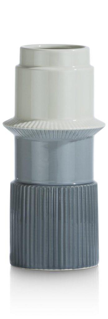 Vase haut en céramique aux nuances de bleu