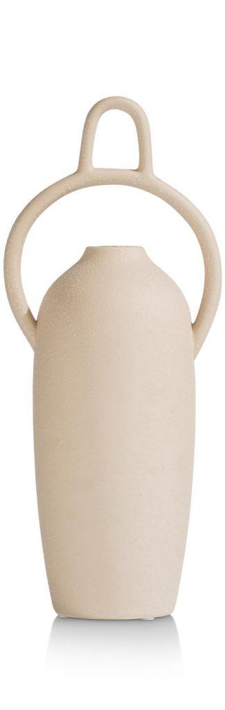 Vase haut et original en céramique beige