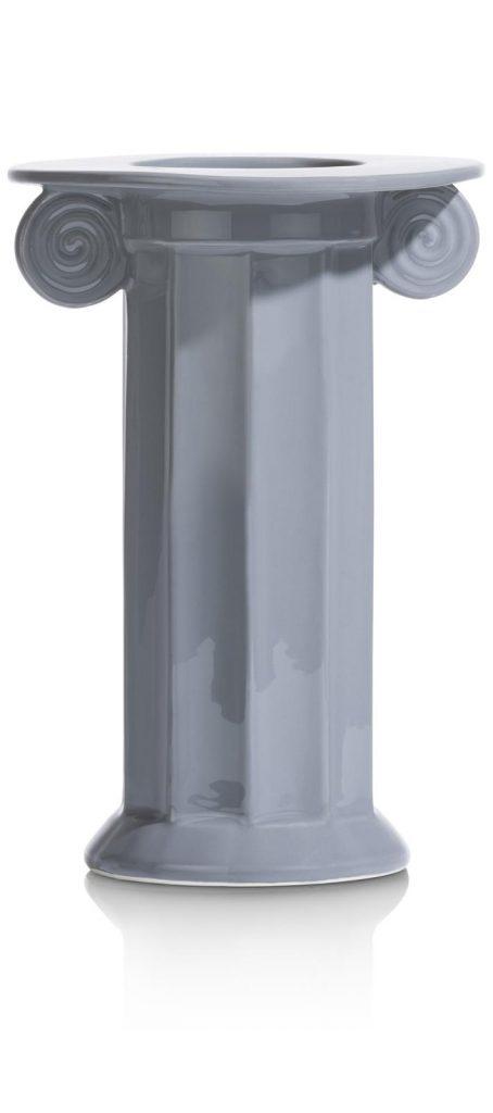 Vase haut style pilier grecque en céramique bleu pastel