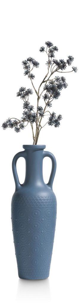 Vase haut et fin en céramique bleu style jarre antique