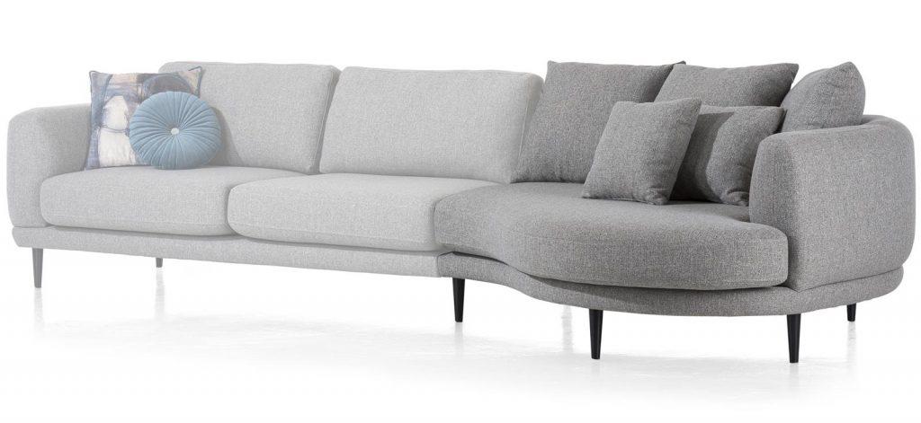 Canapé d'angle design contemporain et lignes arrondies en tissu gris