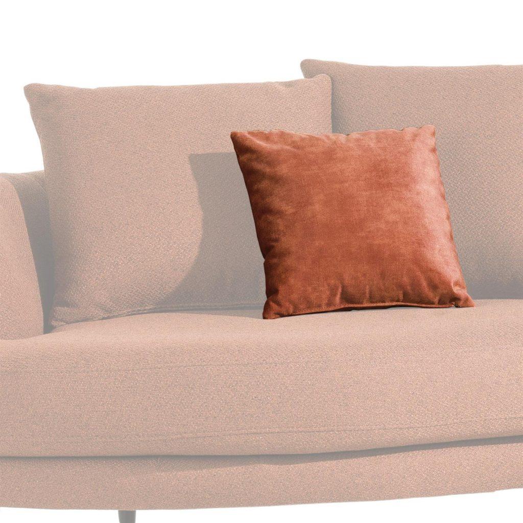 Coussin de canapé en tissu couleur terracotta