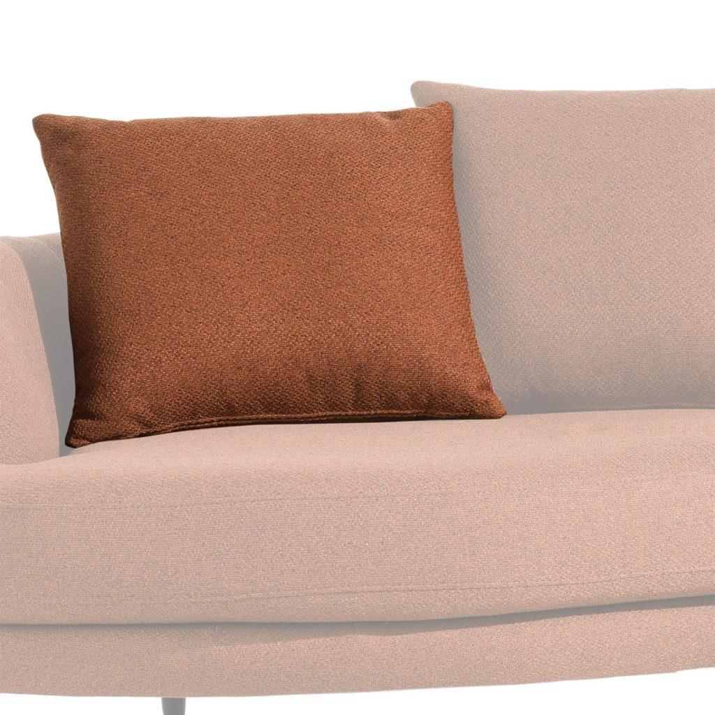 Grand coussin de canapé en tissu couleur terracotta