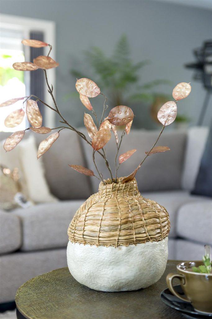 Vase vintage et naturel en poly-résine