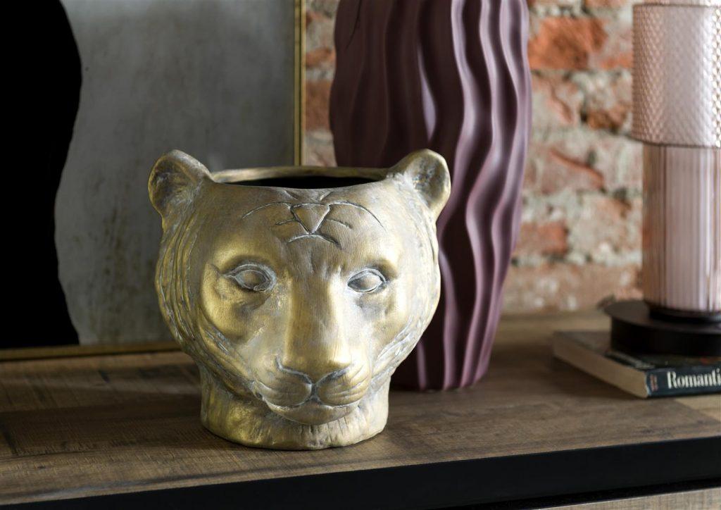 Pot de fleurs vintage tète de léopard dorée
