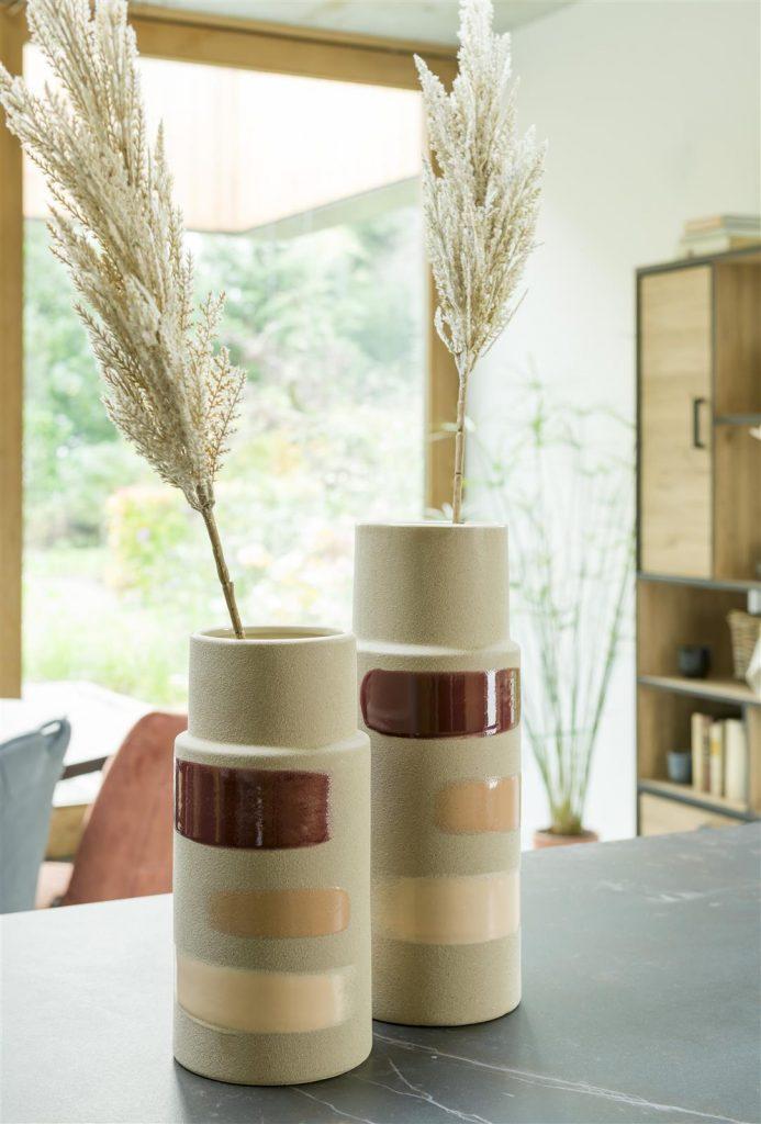 Vases en céramique couleur sable