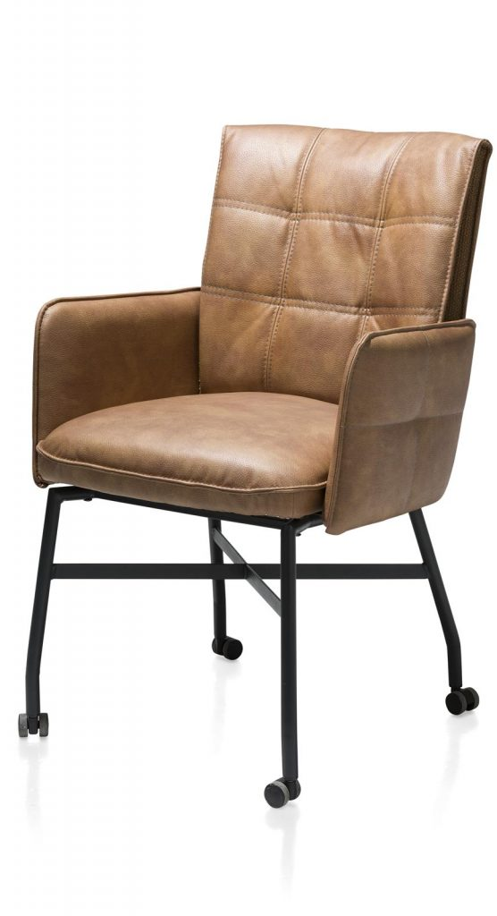 Chaise fauteuil sur roulettes en cuir marron