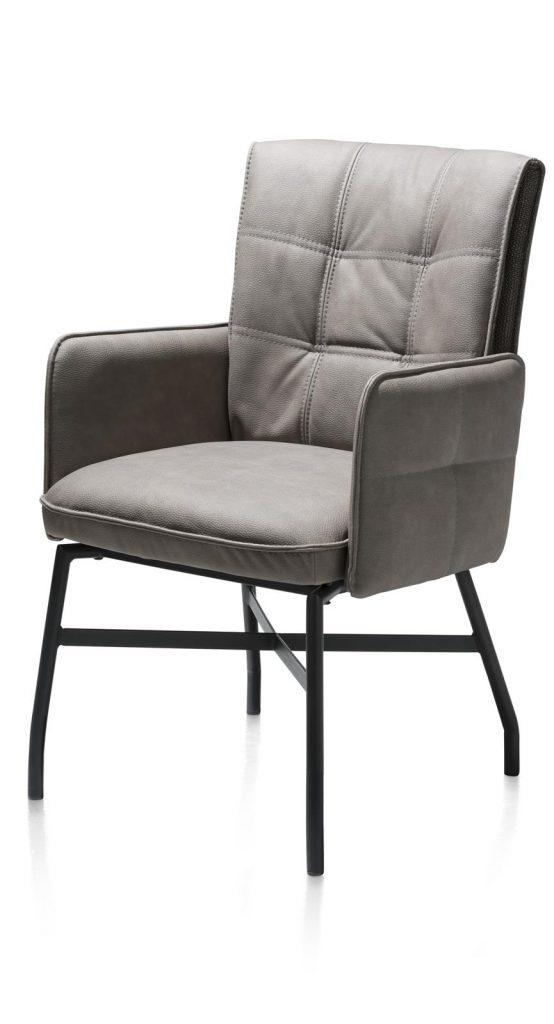Chaise fauteuil sur roulettes en cuir gris