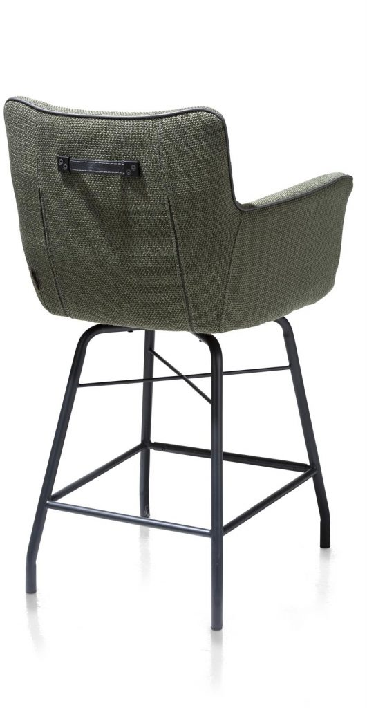 Chaise-fauteuil de bar en tissu vert olive