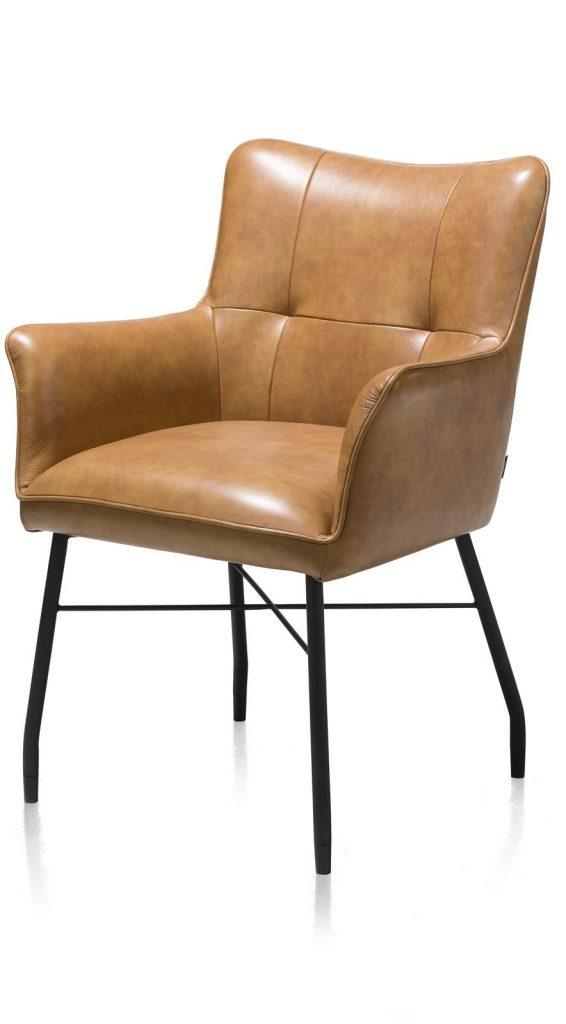 Chaise-fauteuil de table à manger en cuir marron