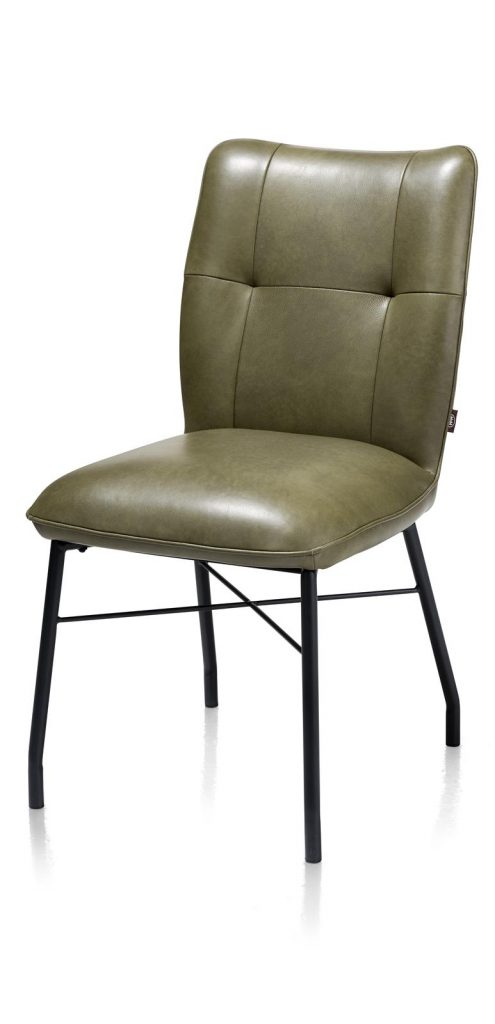Chaise contemporaine et confortable en cuir vert olive