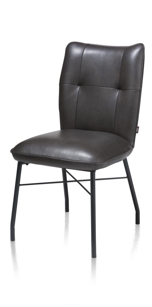 Chaise contemporaine et confortable en cuir anthracite