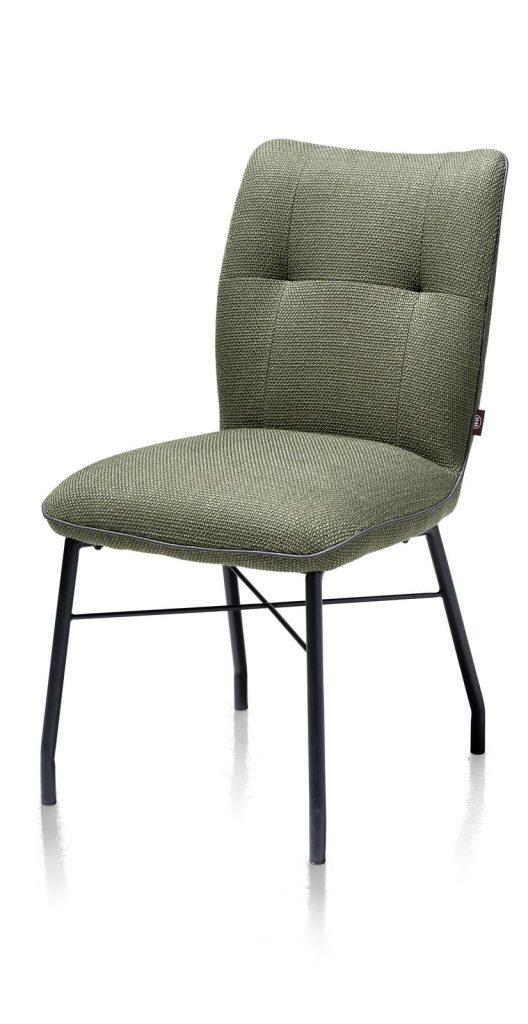 Chaise contemporaine et confortable en tissu vert olive