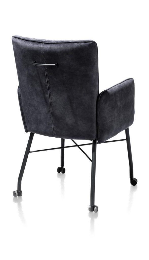 Chaise fauteuil contemporaine en tissu gris anthracite