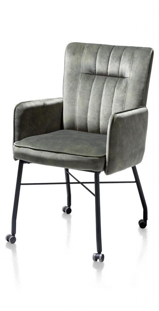 Chaise fauteuil contemporaine en tissu vert olive