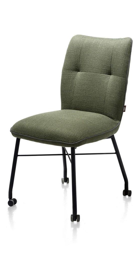 Chaise à roulettes contemporaine et confortable en tissu vert olive