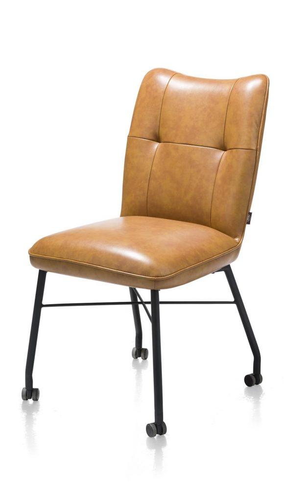 Chaise à roulettes contemporaine et confortable en cuir marron