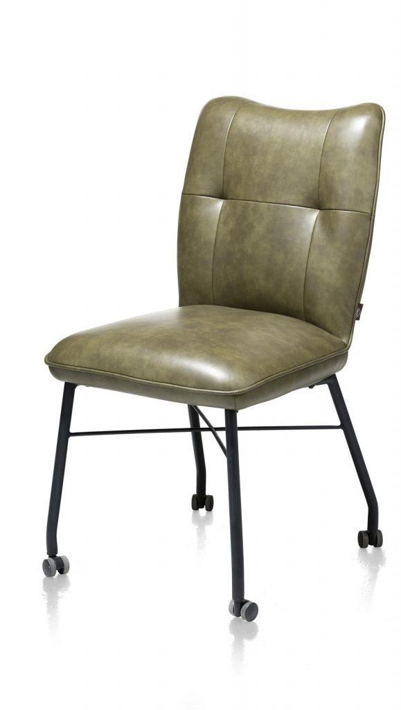 Chaise à roulettes contemporaine et confortable en cuir vert olive