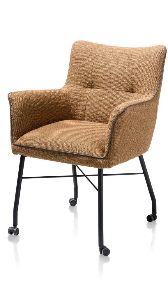 Chaise-fauteuil de table à manger en tissu marron