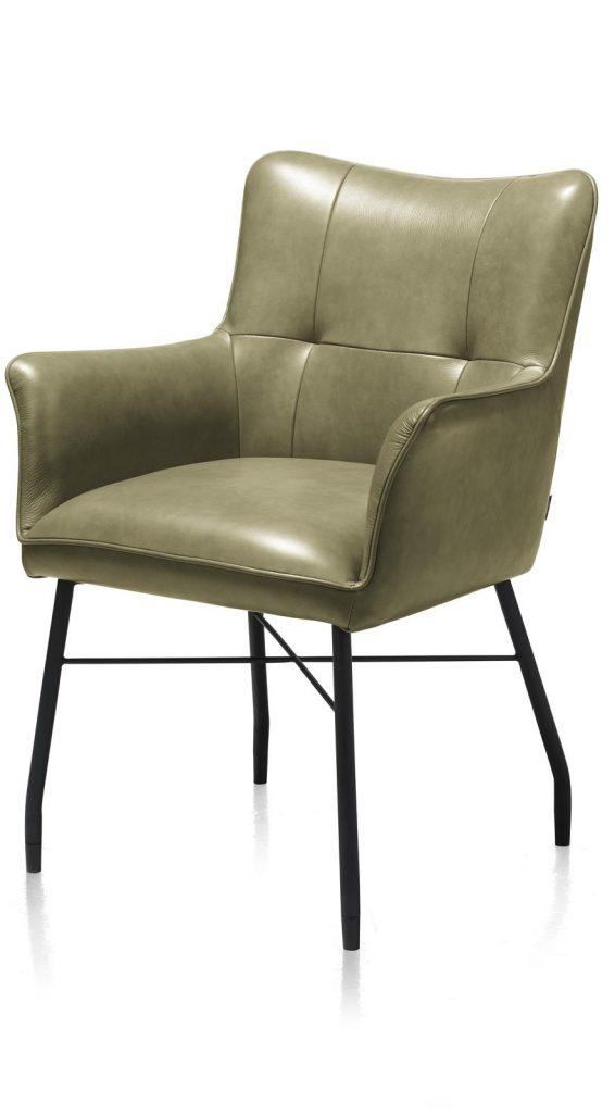 Chaise-fauteuil de table à manger en cuir vert olive