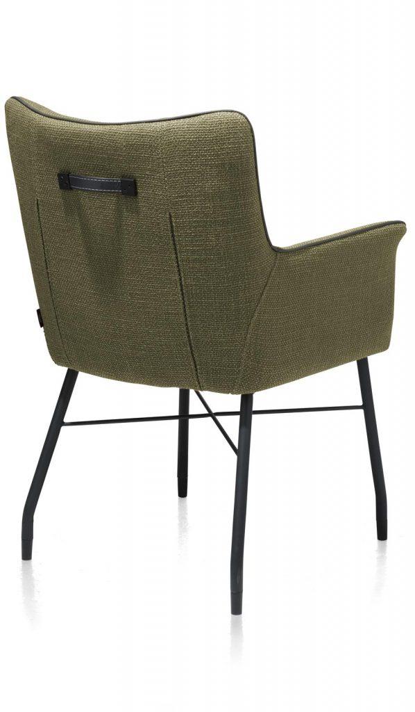 Chaise-fauteuil de table à manger en tissu vert olive