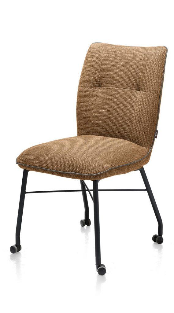 Chaise à roulettes contemporaine et confortable en tissu marron