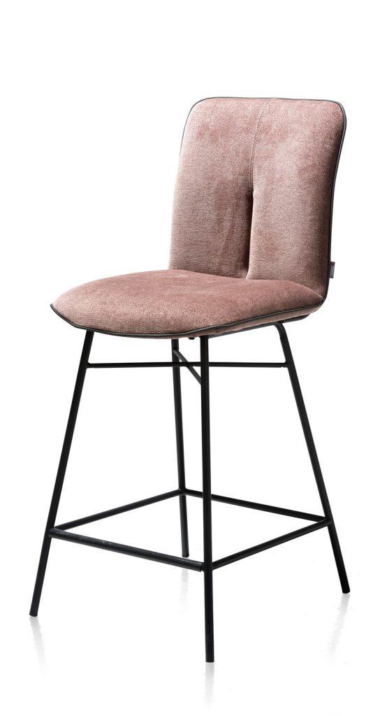 Chaise de bar minimaliste en tissus couleur rose pastel