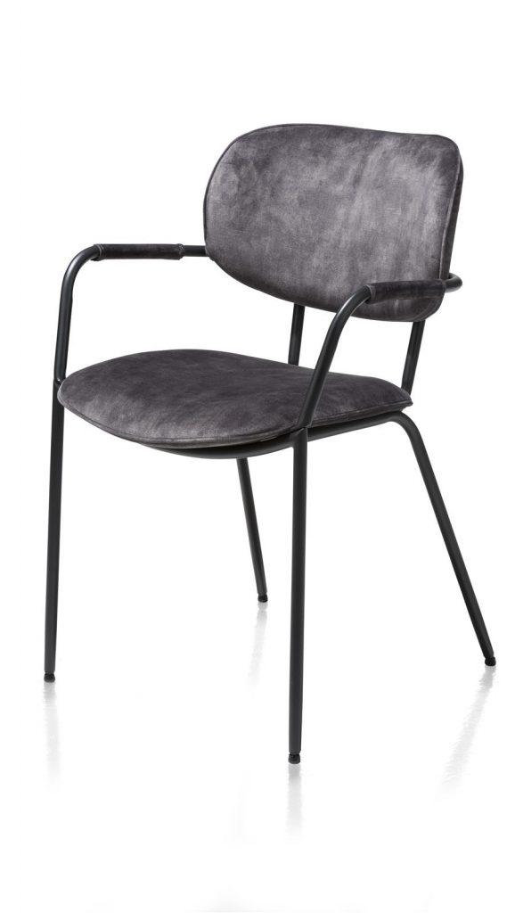 Chaise minimaliste et industrielle en velours anthracite