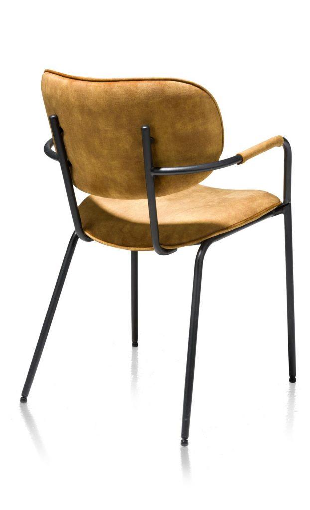 Chaise minimaliste et industrielle en velours jaune ocre