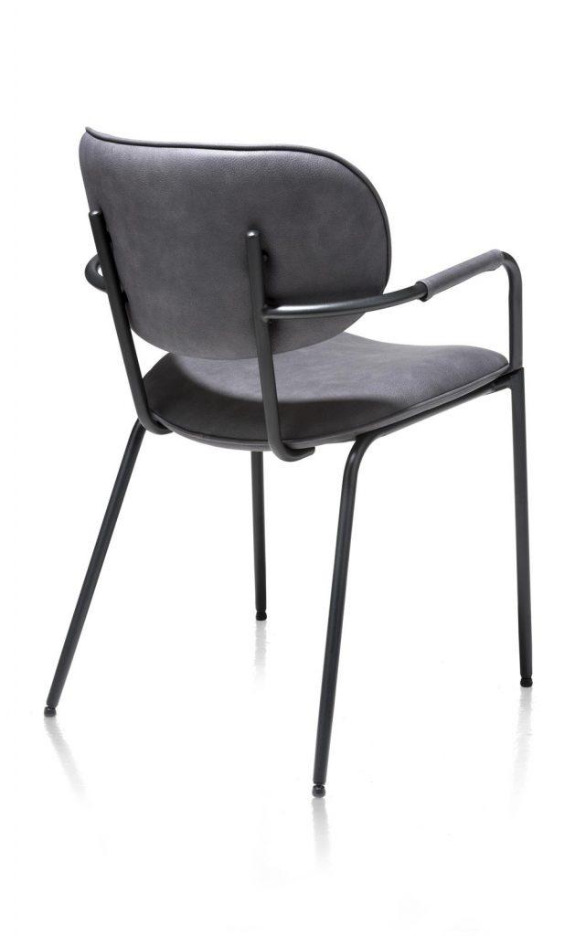 Chaise minimaliste et industrielle en tissu anthracite