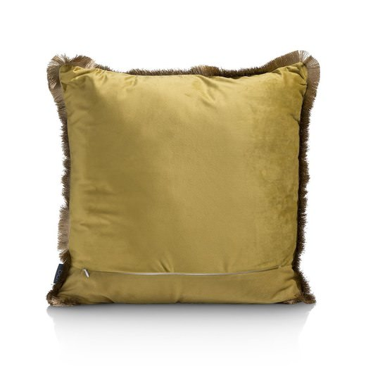 Coussin en velours carré couleur tie dye marron et doré