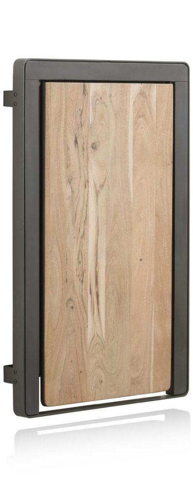 Table de bar murale et rabattable en bois de kikar naturel et métal anthracite