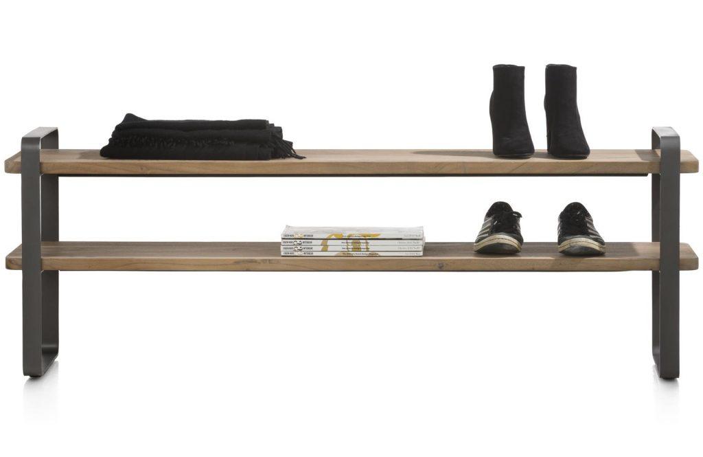 Large meuble à chaussures en métal et bois de kikar naturel