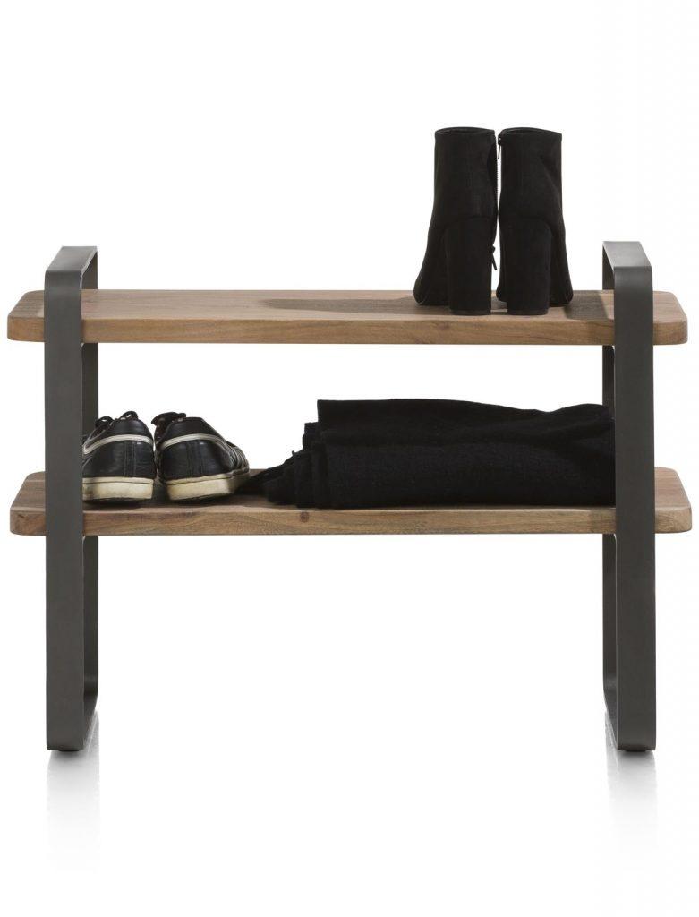 Petit meuble à chaussures en métal et bois de kikar naturel