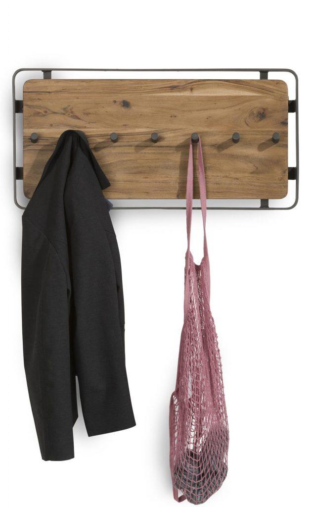 Porte-manteau en bois de kikar naturel et métal couleur anthracite