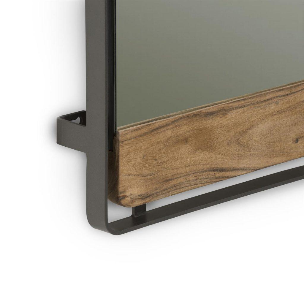 Miroir rectangulaire en bois de kikar et métal anthracite