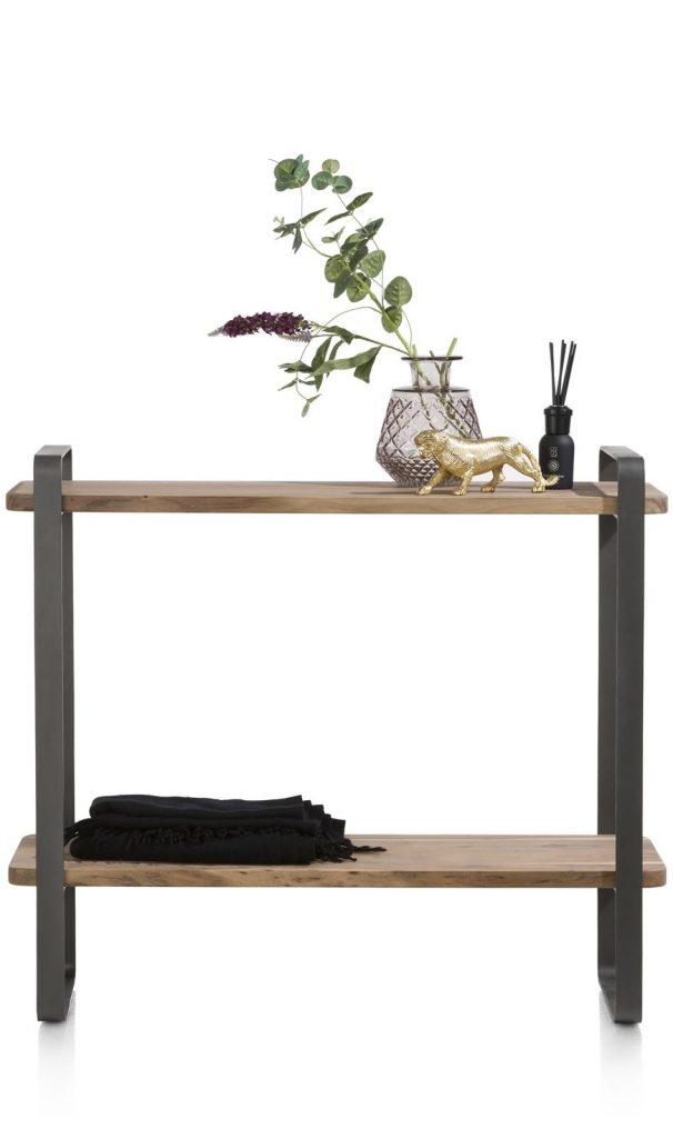Meuble d'appoint 2 étagères bois de kikar naturel et métal anthracite