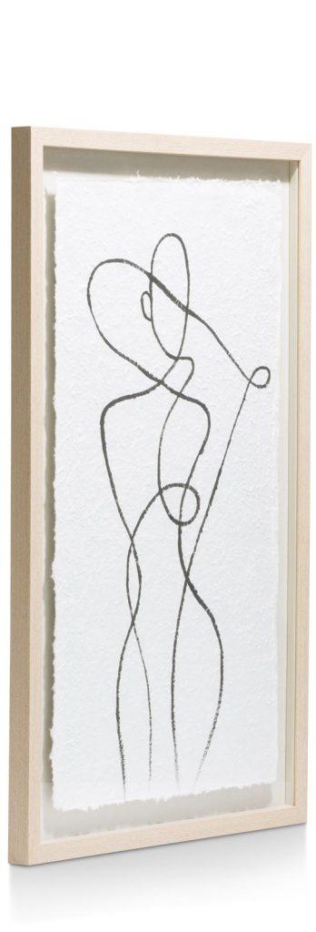 Tableau minimaliste représentant la silhouette d'une femme avec un cadre en bois de chêne