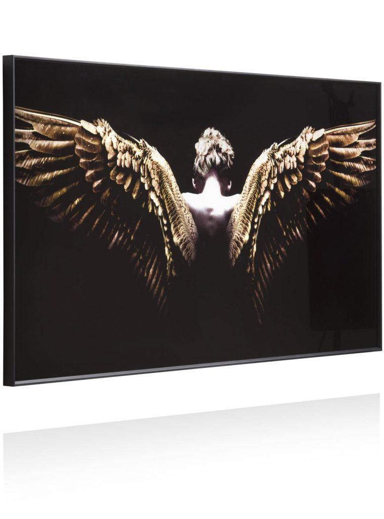 Large tableau noir représentant une femme avec des ailes d'ange