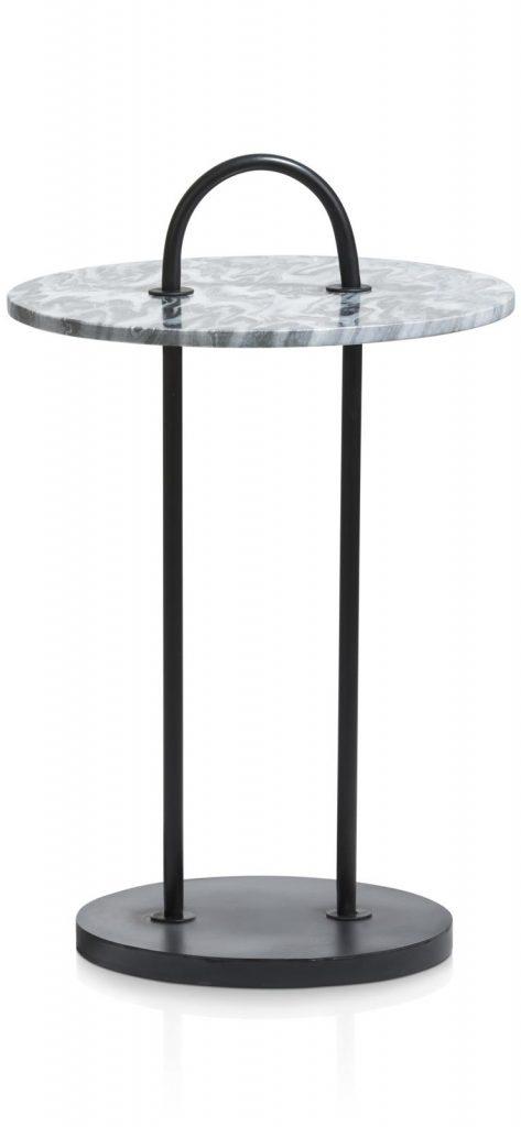 Table d'appoint en marbre et métal noir