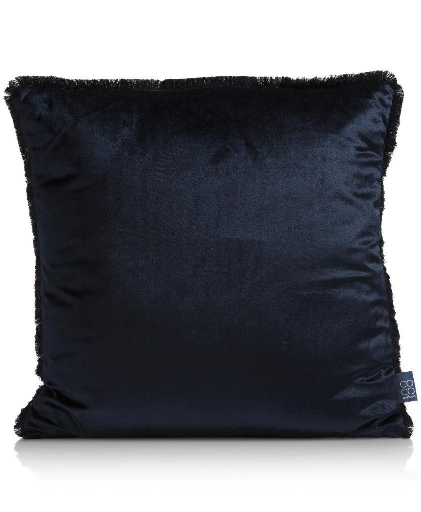 Coussin uni à franges en velours bleu nuit